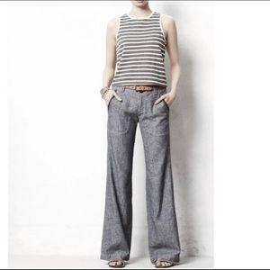 Anthropologie Linen Wide Leg Pants | size 8